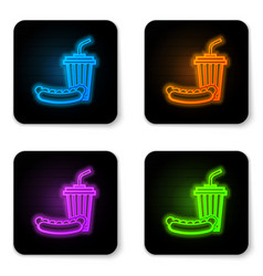 glowing neon soda and hotdog icon isolated on vector image