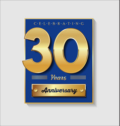 Gold and blue anniversary banner collection 30 vector
