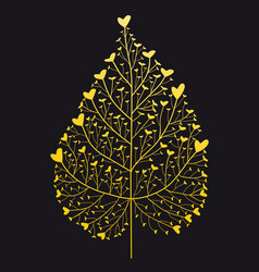 gold heart leaf hand drawing vector image