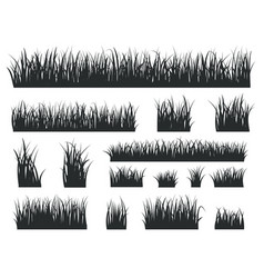 Grass silhouettes black tufts forest lawns vector