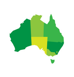 Green blank map of australia vector