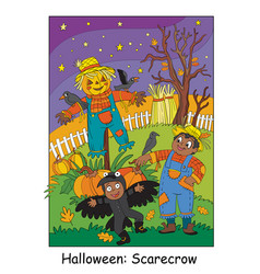 halloween children in costumes of scarecrow vector image