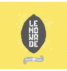 Hand drawn lemon silhouette with lemonade vector