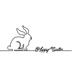 happy easter bunny greeting card in simple one vector image
