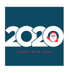 happy new year 2020 gift card with santa claus vector image