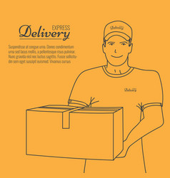 happy smiling young man holding box in his hand vector image