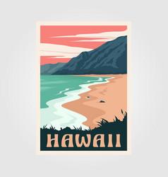 Hawaii beach vintage poster art design adventure vector