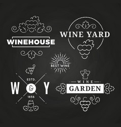 Hipster wine logo or baners design on chalkboard vector