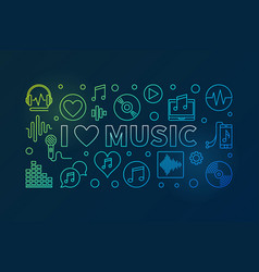 i love music colored horizontal vector image