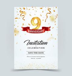 Invitation card template 9 years anniversary vector