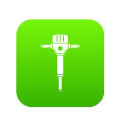 jackhammer icon digital green vector image