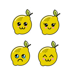 Kawaii lemon diferents faces icon vector