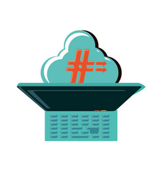laptop and cloud computing with pound key vector image