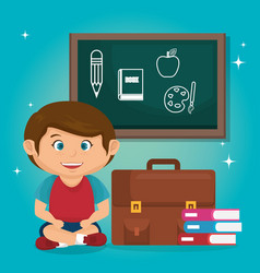 Little schoolboy with chalkboard vector