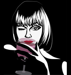 luxury woman with a glass of wine and a diamond vector image