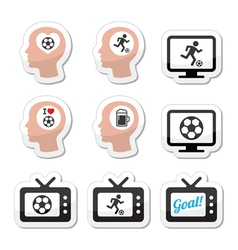 Man loving football or soccer icons set vector image
