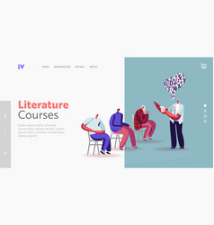 man read book aloud to people landing page vector image