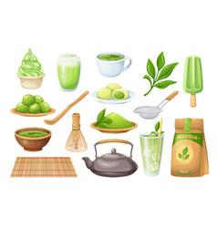 matcha tea ceremony icons set vector image