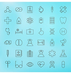 Medical Line Health Care Icons Set vector image