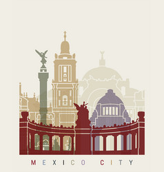 mexico city skyline poster vector image