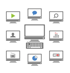 Modern monitors with different icons vector image vector image