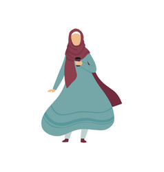 Muslim woman standing with cup of coffee modern vector