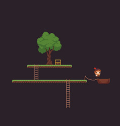 pixel art game scene vector image