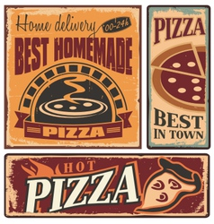 Pizzeria retro metal signs set vector image