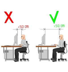 Proper distance from display vector image