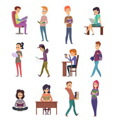reading characters people knowledge student with vector image