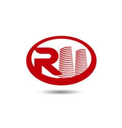 real estate logo template letter r logo vector image