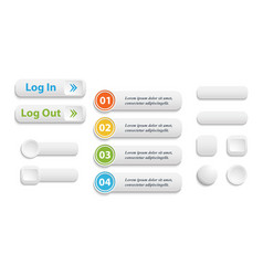 realistic matted white color web buttons vector image