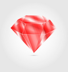 realistic red round gem ruby on gray background vector image