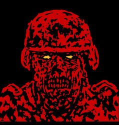 Red angry zombie soldier cover vector