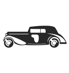 Retro car black flat vector