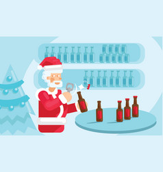 santa claus give plenty of beers vector image