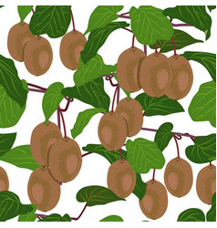 seamless pattern fruit kiwi tree on white vector image