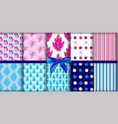 set geometric pattern blue and pink vector image