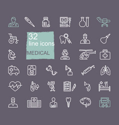 Set medical icons linear symbols on the vector