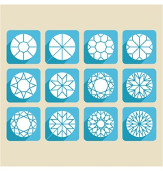 Set of cutting samples diamonds gemstones vector