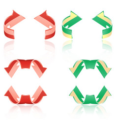 Set of frosted arrows red green vector