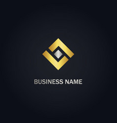 shape square gold logo vector image