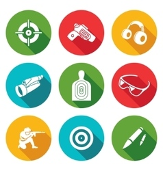 Shooting gallery icons set vector
