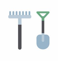 shovel and rake icon vector image