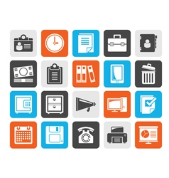 Silhouette business and office supplies icons vector