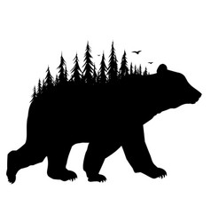 Silhouette of bear with forest vector