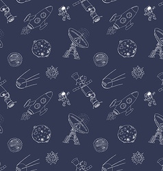 Space doodles icons seamless pattern Hand drawn vector image