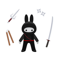 Standing cute bunny ninja with weapons isolated vector