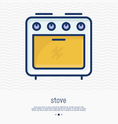 stove thin line icon front view vector image