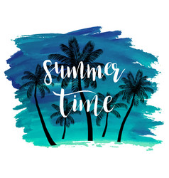 Summer watercolor background withpalm trees vector